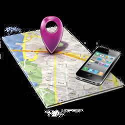 Landkarte mit Handy